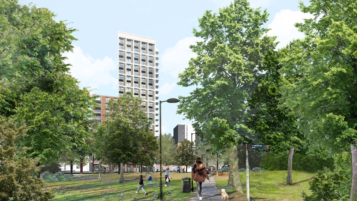 St Catherine's Place proposals - view of tower from Bedminster Green