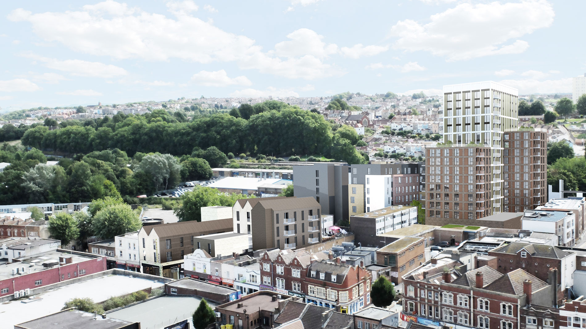 St Catherine's Place proposals - view towards Windmill Hill